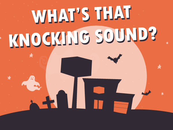 Halloween theme banner with What's That Knocning Sound text